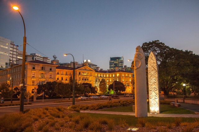 A view of the Law School in Wellington and two sculptures near parliament