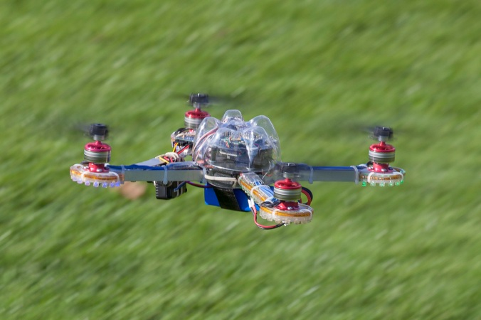 A remote-controlled helicopter with on board video camera in flight.