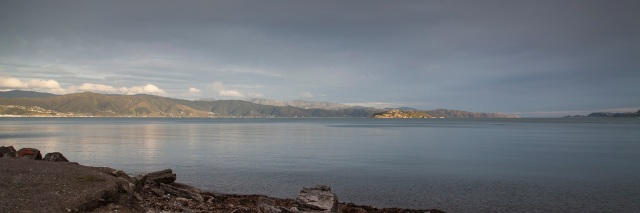 Wellington Harbour and the Eastern Bays from the Western end of Petone Beach