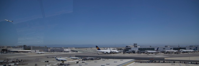 San Francisco Airport from the BART train