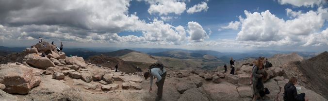 To the South East from the summit of Mt Evans, CO