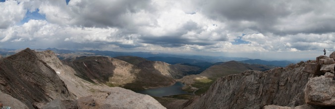 Panorama from the summit of Mt Evans, CO, looking North across Summit Lake