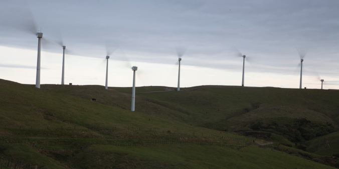 This cluster of turbines was unusual in the area with two bladed rotors