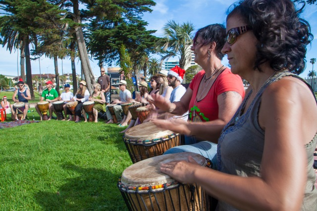 Drumming group in the park
