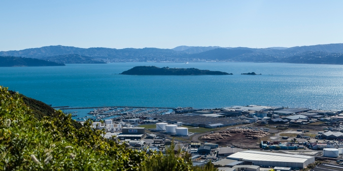 Afternoon view of Wellington Harbour from Wainuiomata Hill lookout
