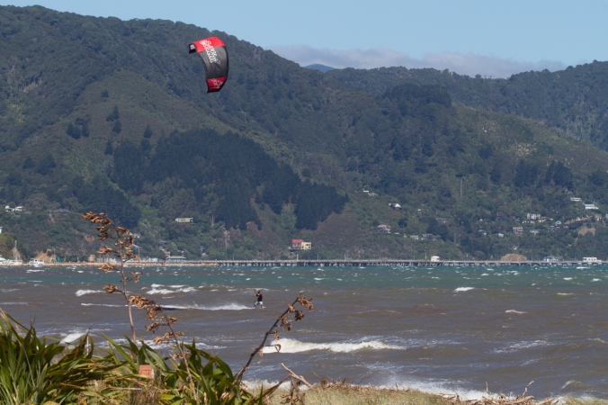 Kite surfing at the Eastern end of Petone Beach