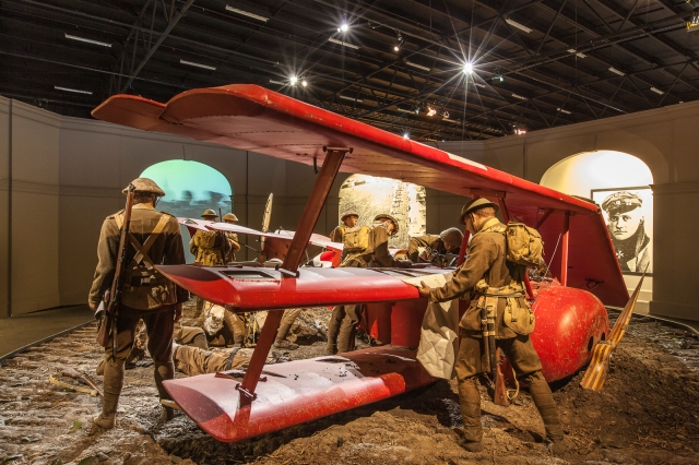 Diorama depicting the stripping of the Red Baron's crashed aircraft by maurauding Australians