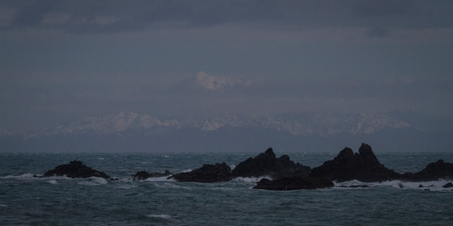 Distant snow-capped peaks