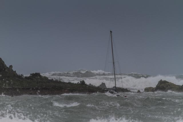Small yacht at anchor