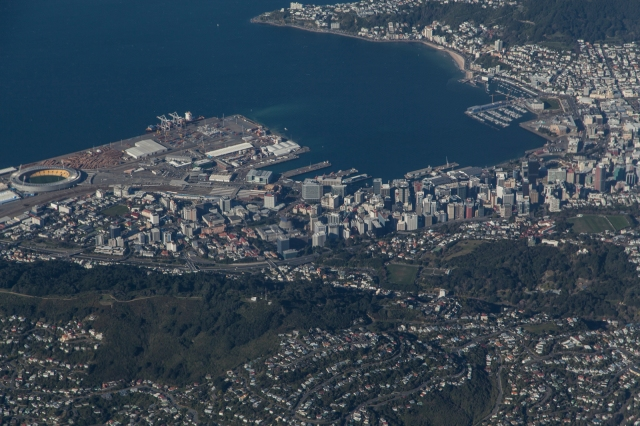 Looking down on central Wellington
