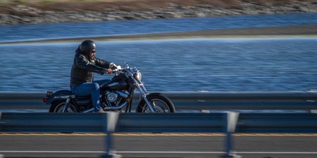 Harley rider headed North