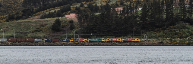 A multiple headed freight train