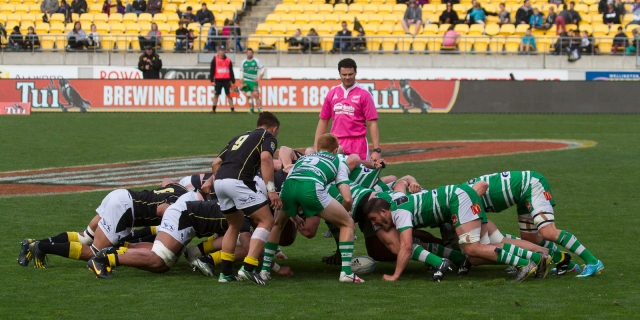 "The Manawatu ""first five"" puts the ball into the scrum"