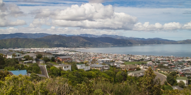 Across Wellington Harbour towards Eastbourne from Maungaraki