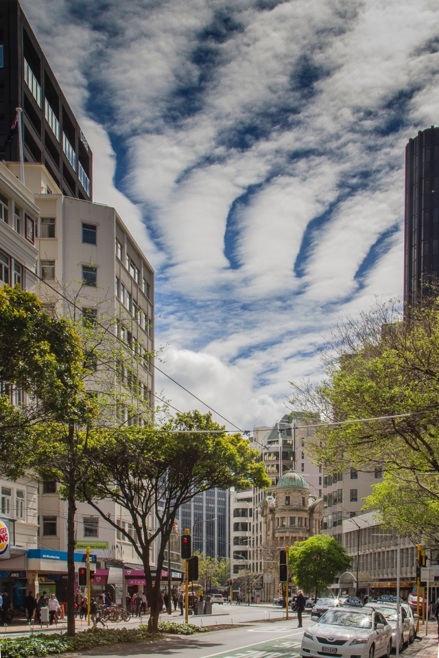 Altocumulus clouds to the North of Lambton Quay
