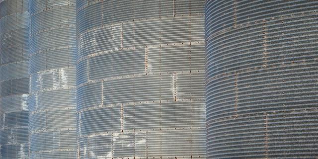 Grain silos at a flour mill