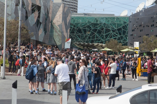 Crowds in Federation Square, Melbourne