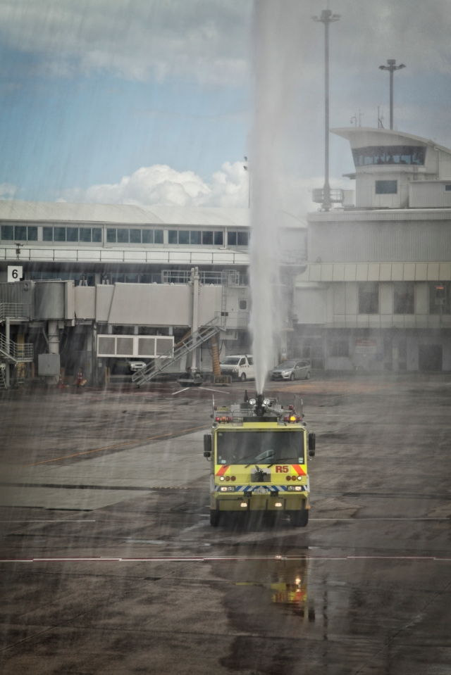 Water cannon welcome