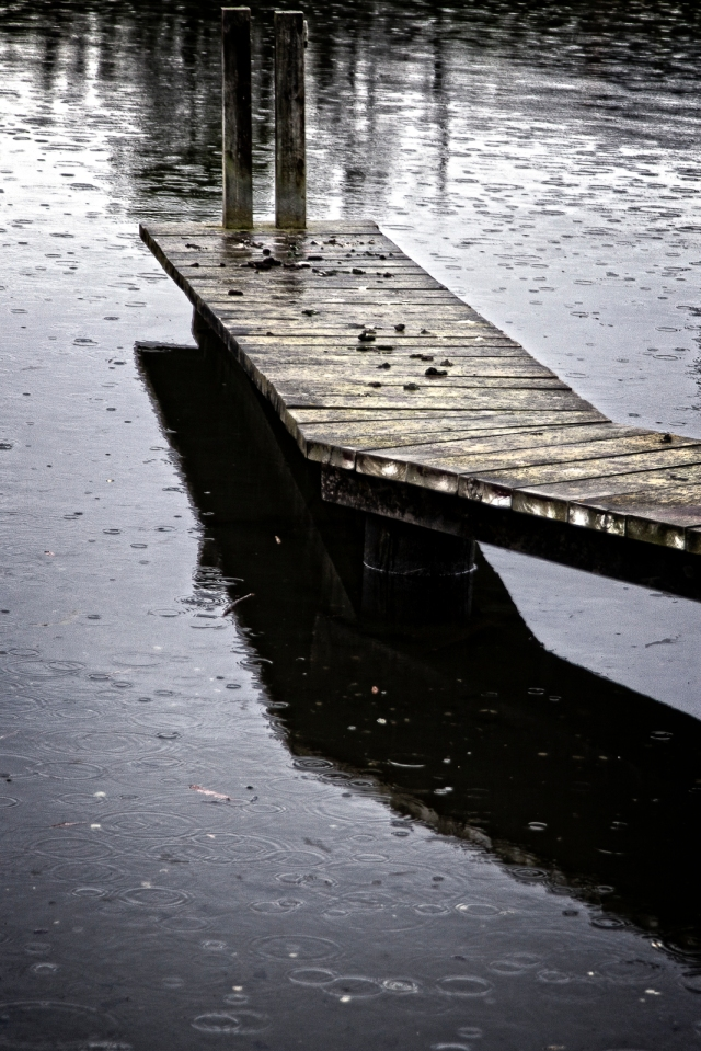 Jetty in the rain