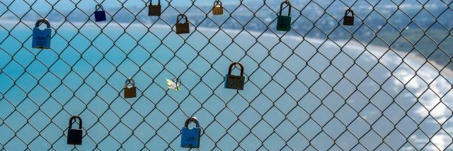 Locks on a fence at Paekakariki