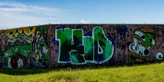 Graffiti on pill boxes